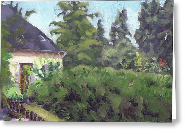 Paysage A L Greeting Cards - Village garden - Jardin villageois Greeting Card by David Ormond