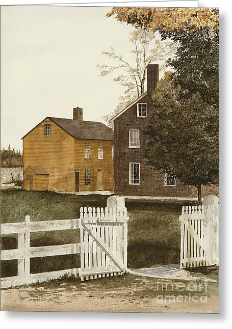 Beckon Greeting Cards - Village Gate Greeting Card by Monte Toon