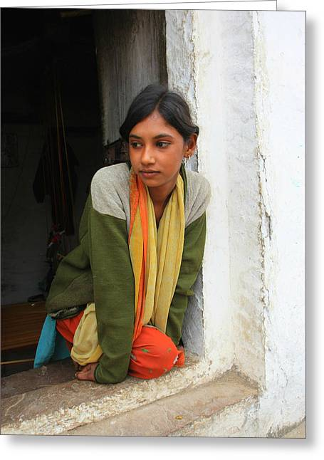 Village Girl India Greeting Card by Amanda Stadther
