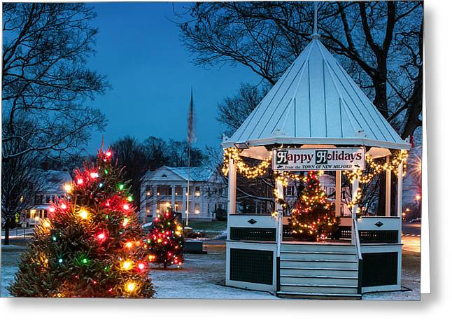Village Green Holiday Greetings- New Milford Ct - Greeting Card by Thomas Schoeller