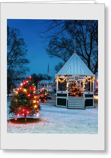 New England Snow Scene Greeting Cards - Village Green Holiday Greetings- New Milford Ct - Greeting Card by Thomas Schoeller