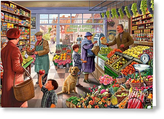 Apron Greeting Cards - Village Greengrocer  Greeting Card by Steve Crisp