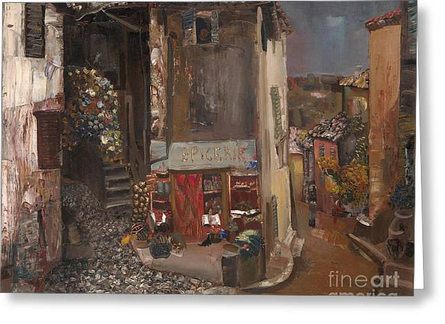 Orthodox Paintings Greeting Cards - Village Grocer Greeting Card by Boris Dmitrievich Grigoriev