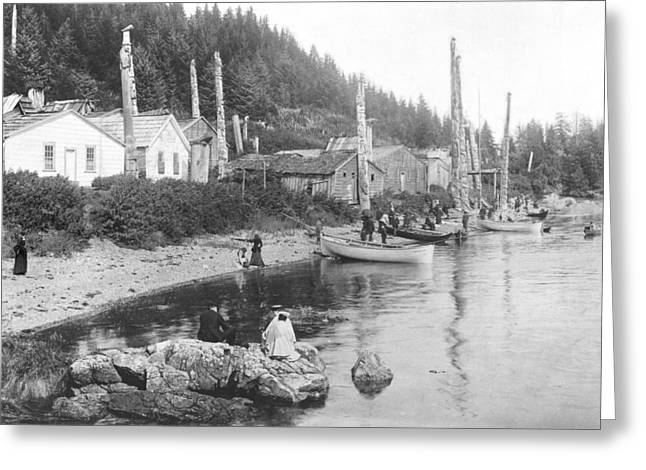 Village In Alaska, C.1900 Bw Photo Greeting Card by American Photographer