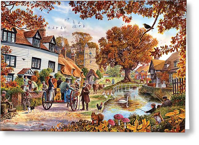 Brown Leaves Greeting Cards - Village in Autumn Greeting Card by Steve Crisp