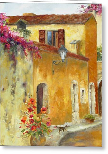 Provence Village Greeting Cards - Village in Provence Greeting Card by Chris Brandley
