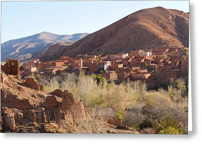 Kasbah Greeting Cards - Village In The Dades Valley, Dades Greeting Card by Panoramic Images