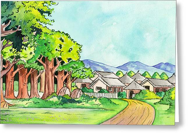 Serengeti Drawing Greeting Cards - Village in the Forest Greeting Card by Anthony Mwangi