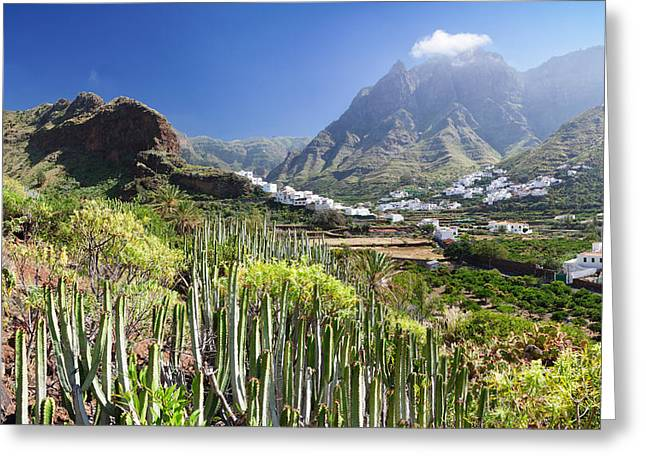 Gran Greeting Cards - Village In The Valley, Agaete, Gran Greeting Card by Panoramic Images