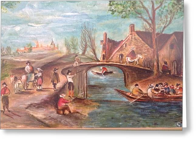 Village Landscape Greeting Card by Egidio Graziani