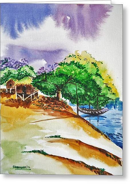 Shakhenabat Kasana Greeting Cards - Village landscape of Bangladesh 3 Greeting Card by Shakhenabat Kasana