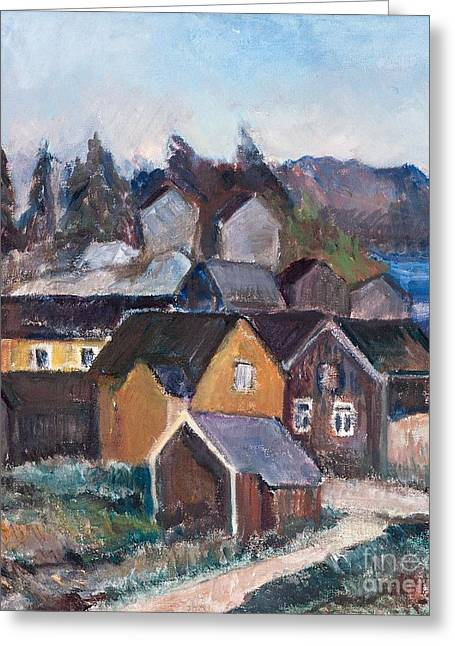 1955 Paintings Greeting Cards - Village Landscape Greeting Card by Tyko Sallinen