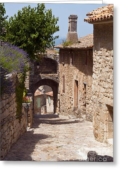Provence Village Greeting Cards - Village Lane Greeting Card by Bob Phillips