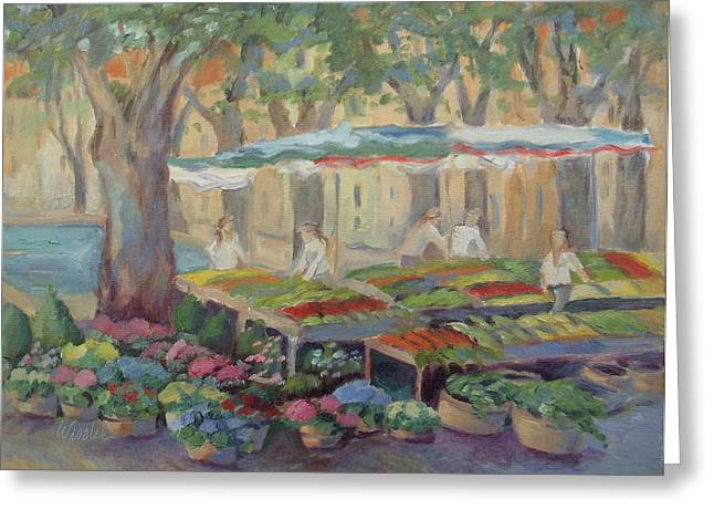 Provence Village Greeting Cards - Village Market of Cucuron Greeting Card by Linda  Wissler