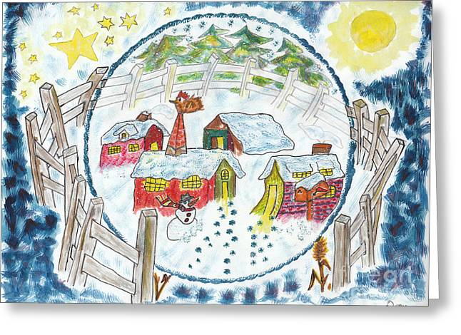 Winter Night Greeting Cards - Village nordique / Nordic Village Greeting Card by Dominique Fortier