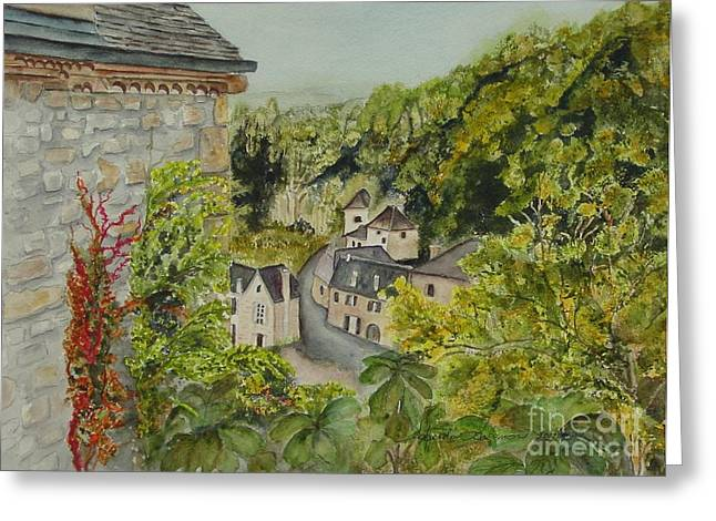 Languedoc Paintings Greeting Cards - Village of Beynac France Greeting Card by Sobeida Salomon
