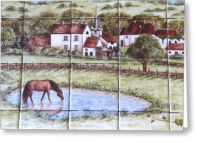 Ceramic Tile Mural Ceramics Greeting Cards - Village of Burgundy France Greeting Card by Julia Sweda