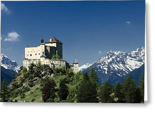 Graubunden Greeting Cards - Tarasp Castle in the Canton of Graubunden Switzerland Greeting Card by Adele Buttolph