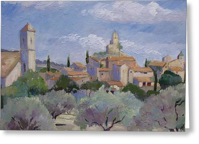Provence Village Greeting Cards - Village of Lourmarin  Greeting Card by Linda  Wissler