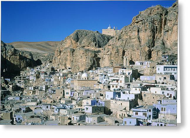 Western Ma Greeting Cards - Village Of Maalula, Syria Greeting Card by Adam Sylvester