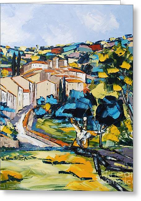 Victoire Paintings Greeting Cards - Village Of Provence Greeting Card by Atelier De  Jiel