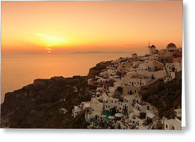 Oia Greeting Cards - Village On A Cliff, Oia, Santorini Greeting Card by Panoramic Images