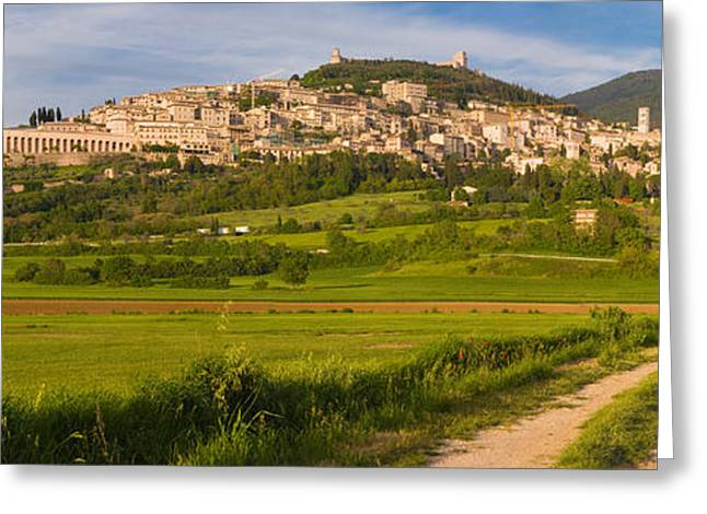 Umbria Greeting Cards - Village On A Hill, Assisi, Perugia Greeting Card by Panoramic Images