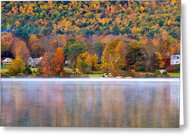 Autumn Scenes Greeting Cards - Village On Crystal Lake Autumn  Greeting Card by Jeff Sinon