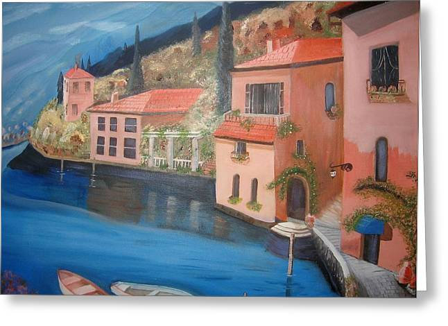Italy Sculptures Greeting Cards - Village on the Bay Greeting Card by Charline Utley