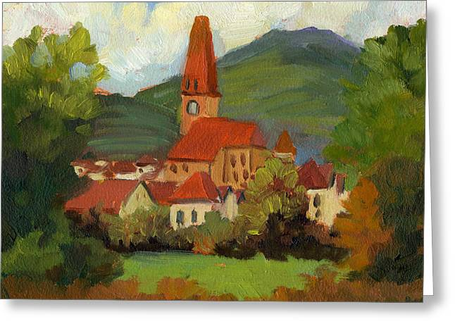 Hungary Greeting Cards - Village on the Danube Greeting Card by Diane McClary