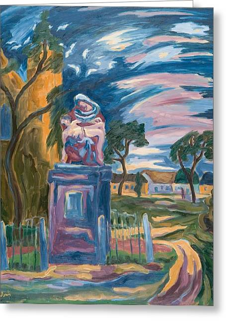 Sculptures Greeting Cards - Village Pieta, 2007 Oil On Board Greeting Card by Marta Martonfi-Benke