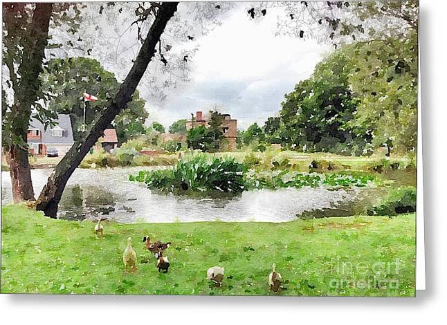 Village Pond Watercolor Greeting Card by John Edwards