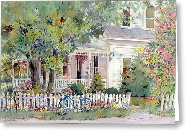New England Village Paintings Greeting Cards - Village Porch Greeting Card by Sherri Crabtree