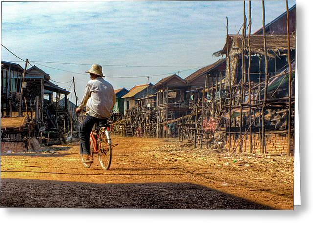 Stilt House Greeting Cards - Village Rider Greeting Card by Douglas J Fisher
