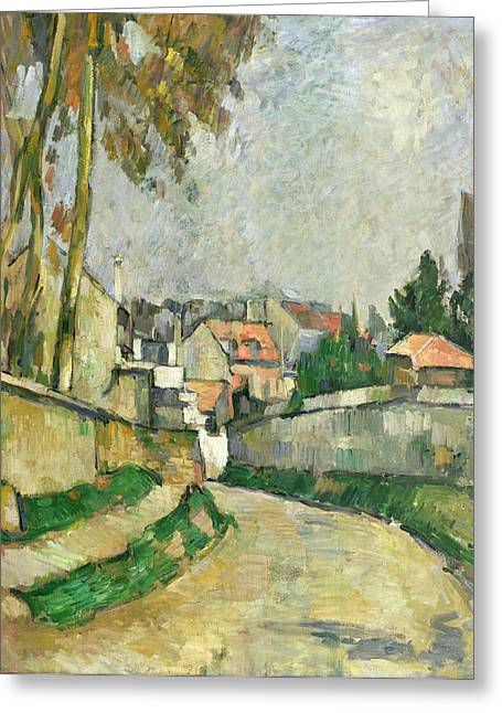 Wall Street Greeting Cards - Village Road Greeting Card by Paul Cezanne