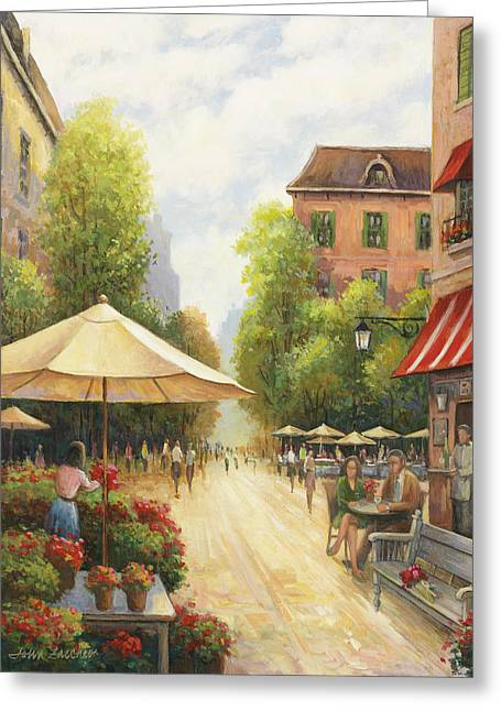 Zaccheo Greeting Cards - Village Scene Greeting Card by John Zaccheo