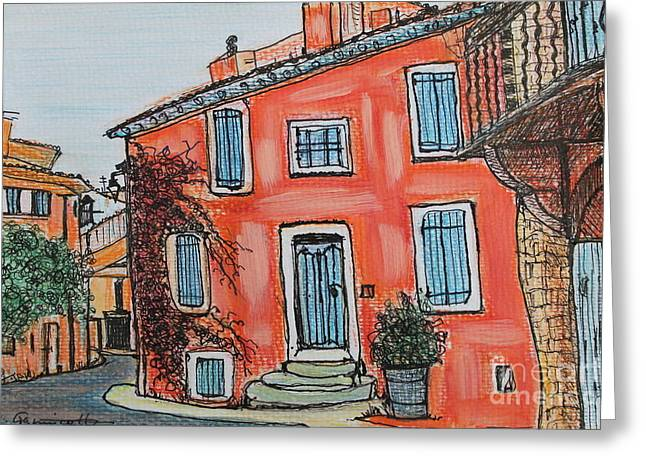 Provence Village Mixed Media Greeting Cards - Village Scene Provence France Greeting Card by Angela  Gannicott