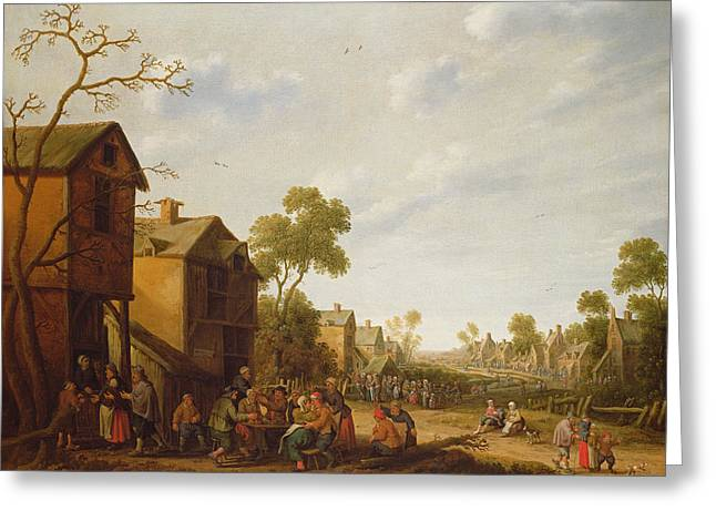 Festival Photographs Greeting Cards - Village Scene With Peasants Merrymaking, 17th Century Greeting Card by Joost Cornelisz