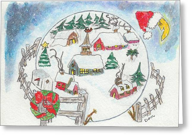 1960 Greeting Cards - Village sous la neige / Village in Snow Greeting Card by Dominique Fortier