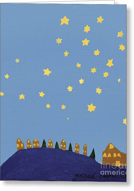 Outsider Art Greeting Cards - Village Starry Night Greeting Card by Michael Cagnacci
