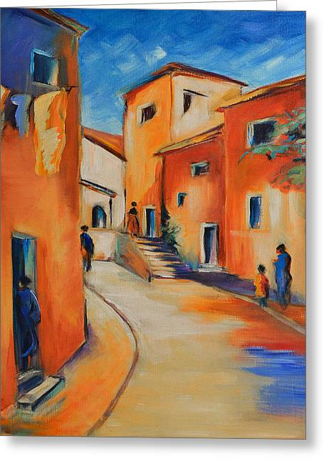 Mediterranean Village Greeting Cards - Village Street in Provence Greeting Card by Elise Palmigiani