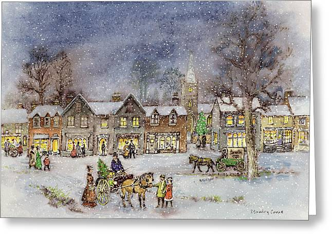 Horse And Carriage Greeting Cards - Village Street in the Snow Greeting Card by Stanley Cooke