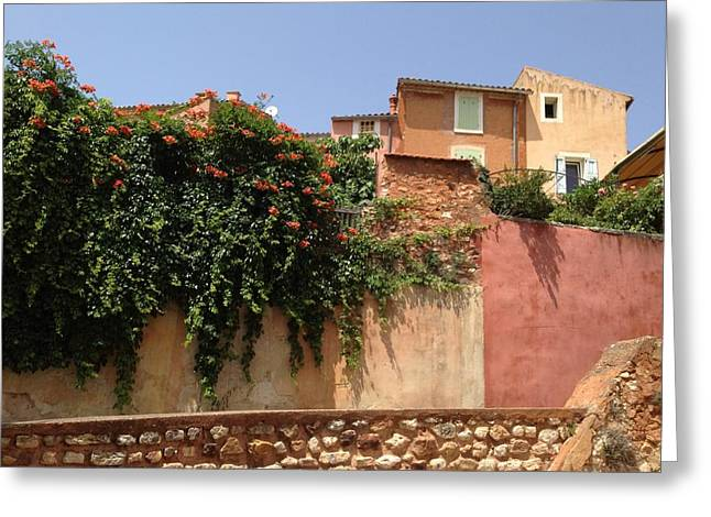 Provence Village Greeting Cards - Village Vista Roussillon France Greeting Card by Pema Hou