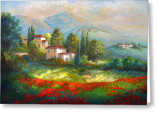 Summer Scenes Greeting Cards - Village with poppy fields  Greeting Card by Gina Femrite