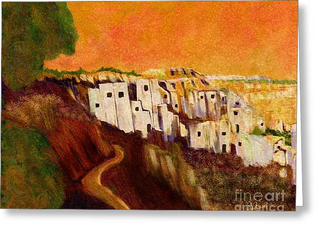 Italian Sunset Greeting Cards - Villaggio Sunrise Greeting Card by Sydne Archambault