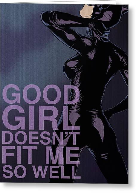 Dc Comics Greeting Cards - Villains Poster - Catwoman Greeting Card by Christopher Ables