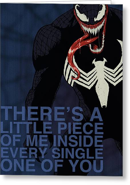 Spider-man Greeting Cards - Villains Poster - Venom Greeting Card by Christopher Ables
