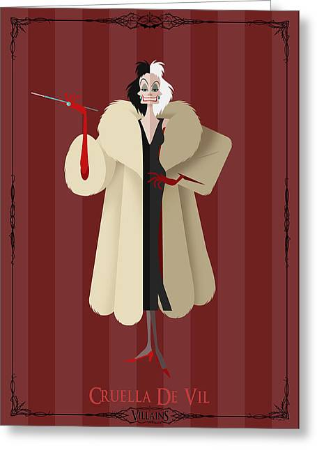 Disney Greeting Cards - Villains Trading Card-Cruella De Vil Greeting Card by Christopher Ables