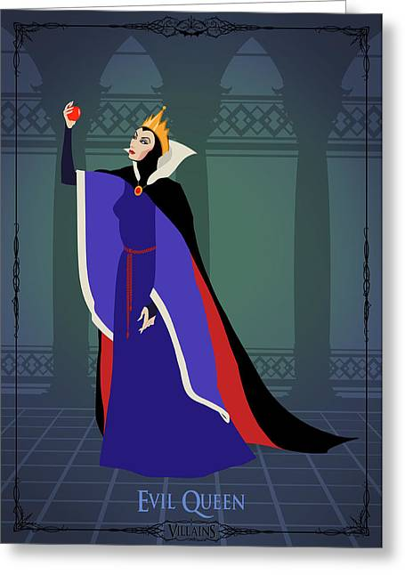 Disney Digital Greeting Cards - Villains Trading Card-Evil Queen Greeting Card by Christopher Ables