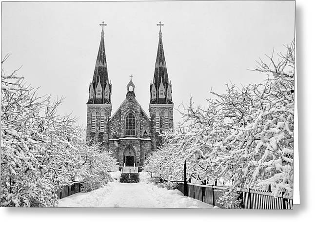 Radnor Greeting Cards - Villanova Cathedral - Winter  Greeting Card by Bill Cannon
